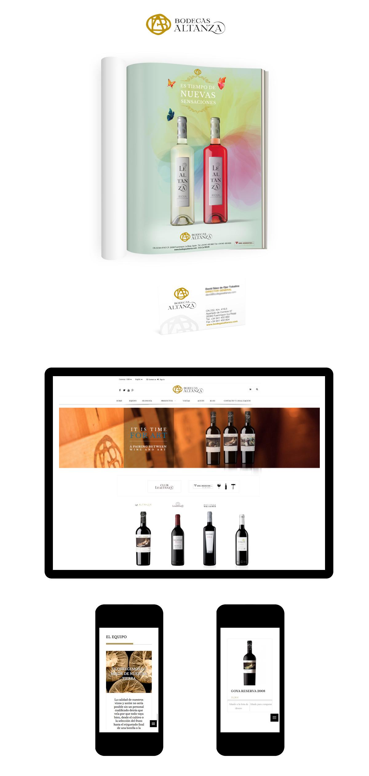 Bodegas Altanza, diseño web, tienda online y diseño gráfico
